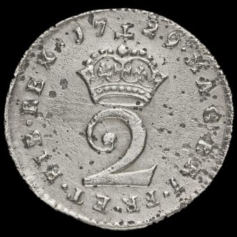 1729 George II Early Milled Silver Maundy Twopence Reverse