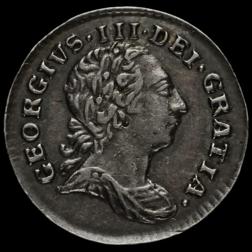 1786 George III Early Milled Silver Maundy Penny Obverse