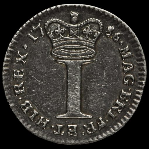 1786 George III Early Milled Silver Maundy Penny Reverse
