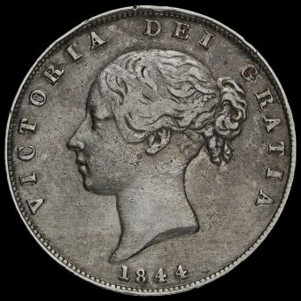 1844 Queen Victoria Young Head Silver Half Crown Obverse