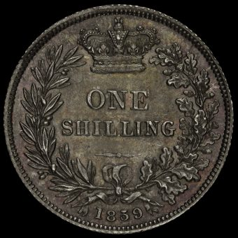 1859 Queen Victoria Young Head Silver Shilling Reverse
