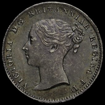 1861 Queen Victoria Young Head Silver Threepence Obverse