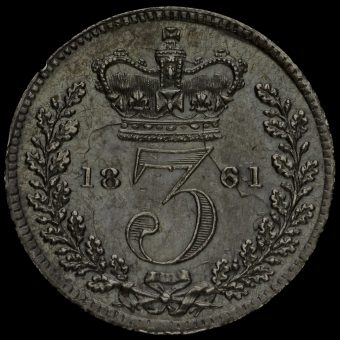 1861 Queen Victoria Young Head Silver Threepence Reverse