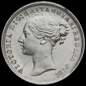 1870 Queen Victoria Young Head Silver Threepence Obverse