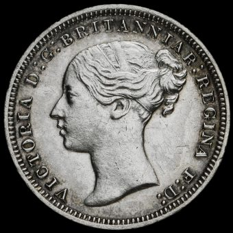 1877 Queen Victoria Young Head Silver Threepence Obverse