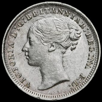 1879 Queen Victoria Young Head Silver Threepence Obverse