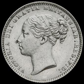 1884 Queen Victoria Young Head Silver Shilling Obverse