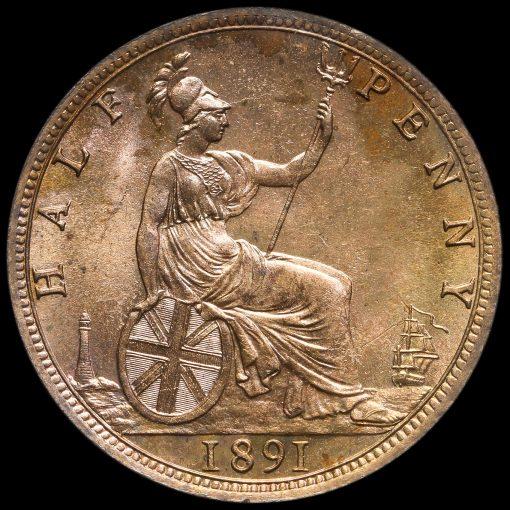 1891 Queen Victoria Bun Head Halfpenny Reverse