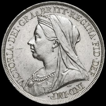 1893 Queen Victoria Veiled Head Silver LVI Crown Obverse