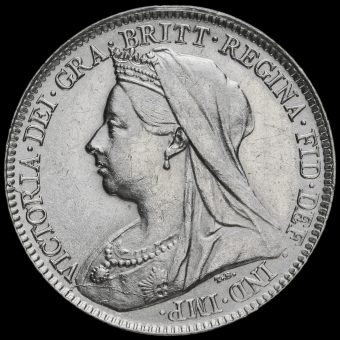 1894 Queen Victoria Veiled Head Silver Sixpence Obverse