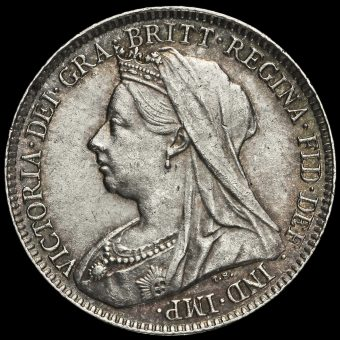 1896 Queen Victoria Veiled Head Silver Sixpence Obverse