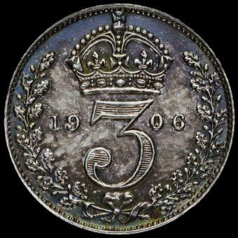 1906 Edward VII Silver Maundy Threepence Reverse