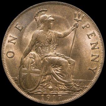 1917 George V Penny Reverse