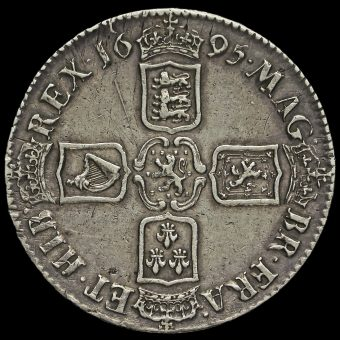 1695 William III Early Milled Silver Septimo Crown Reverse