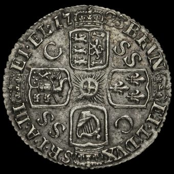 1723 George I Early Milled Silver SSC Sixpence Reverse