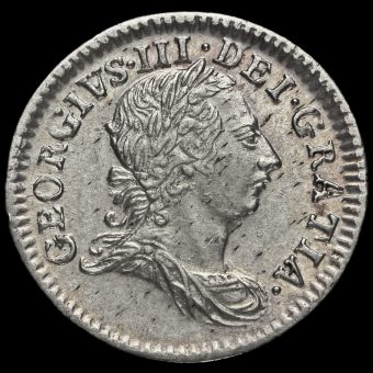 1763 George III Early Milled Silver Maundy Fourpence Obverse