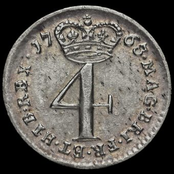 1763 George III Early Milled Silver Maundy Fourpence Reverse