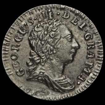 1776 George III Early Milled Silver Maundy Penny Obverse