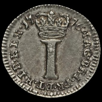 1776 George III Early Milled Silver Maundy Penny Reverse