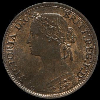 1860 Queen Victoria Bun Head Farthing Obverse