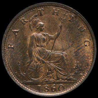 1860 Queen Victoria Bun Head Farthing Reverse