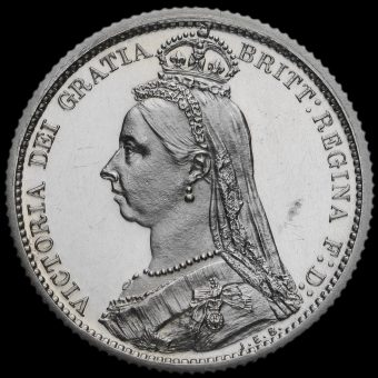 1887 Queen Victoria Jubilee Head Silver Proof Sixpence Obverse