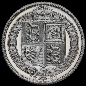 1887 Queen Victoria Jubilee Head Silver Proof Sixpence Reverse