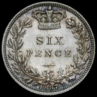1887 Queen VictoriaYoung Head SilverSixpence Reverse