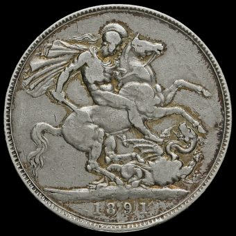 1891 Queen Victoria Jubilee Head Silver Crown Reverse