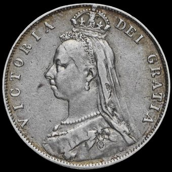 1891 Queen Victoria Jubilee Head Silver Half Crown Obverse