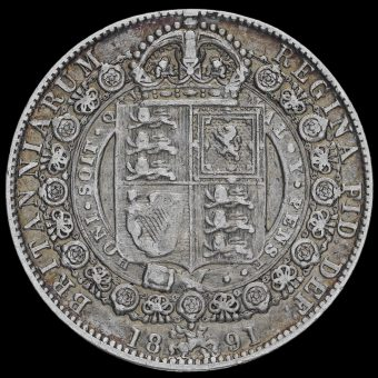 1891 Queen Victoria Jubilee Head Silver Half Crown Reverse
