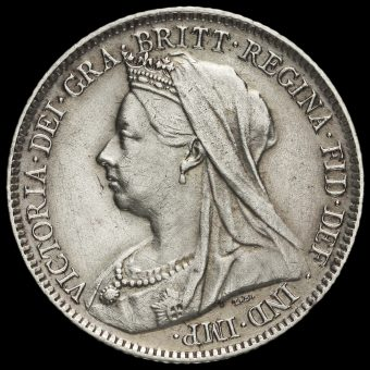 1899 Queen Victoria Veiled Head Silver Sixpence Obverse