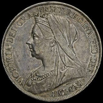 1900 Queen Victoria Veiled Head Silver LXIV Crown Obverse