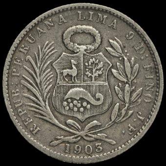 Peru 1903 Silver 1/5 Sol Obverse