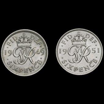 1949 & 1951 George VI Sixpences Reverse