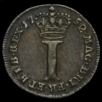 1752 George II Early Milled Silver Maundy Penny Reverse