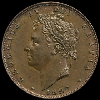 1827 George IV Milled Copper Farthing Obverse