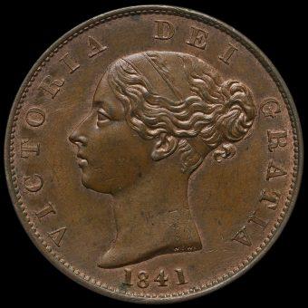 1841 Queen Victoria Young Head Copper Halfpenny Obverse