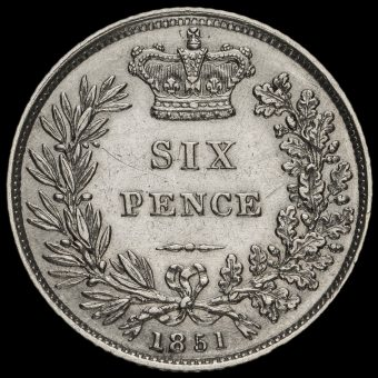 1851 Queen Victoria Young Head Silver Sixpence Reverse