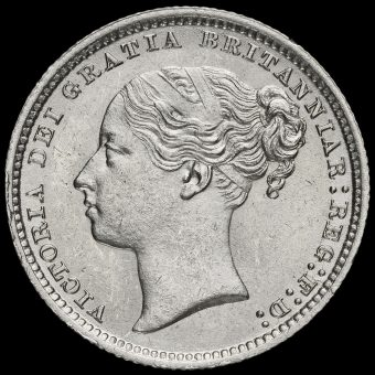 1878 Queen Victoria Young Head Silver Shilling Obverse