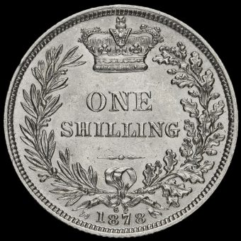 1878 Queen Victoria Young Head Silver Shilling Reverse