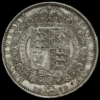 1888 Queen Victoria Jubilee Head Silver Half Crown Reverse