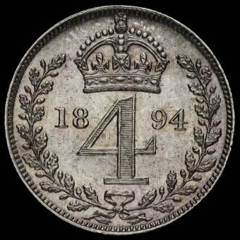 1894 Queen Victoria Veiled Head Silver Maundy Fourpence Reverse