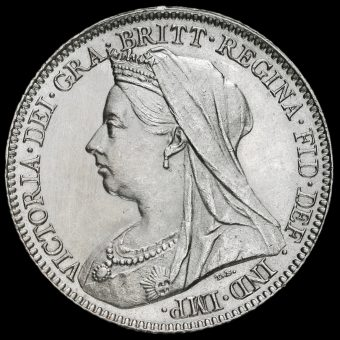 1898 Queen Victoria Veiled Head Silver Sixpence Obverse