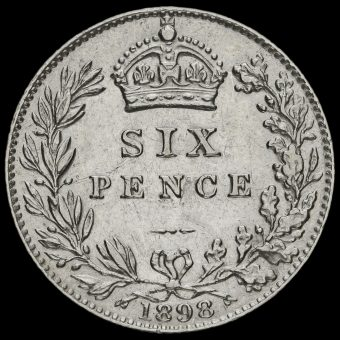 1898 Queen Victoria Veiled Head Silver Sixpence Reverse