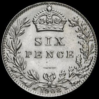 1908 Edward VII Silver Sixpence Reverse