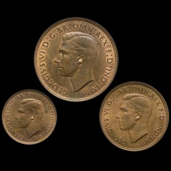 1937 George VI Penny, Halfpenny and Farthing Obverse
