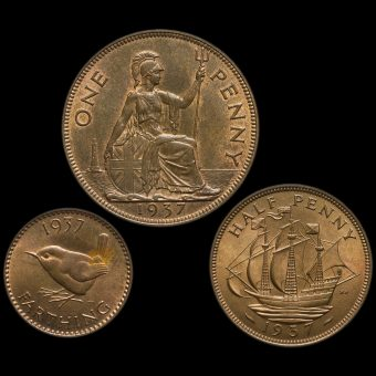 1937 George VI Penny, Halfpenny and Farthing Reverse