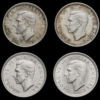 4 x George VI Silver Sixpences Obverse