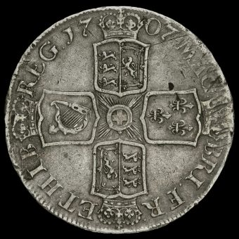 1707 Queen Anne Early Milled Silver Crown Reverse